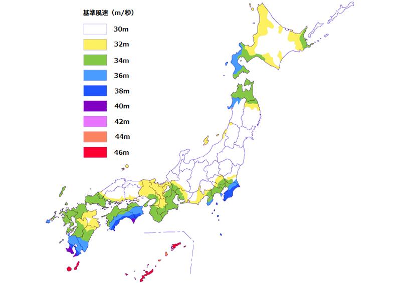 風水害 被害 地域 基準風速一覧表
